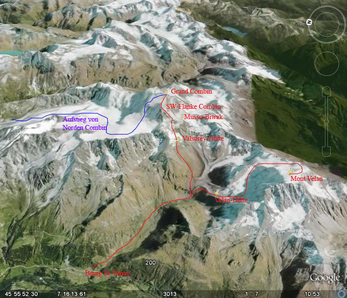 Google-Earth: Grand Combin, Mont Velan